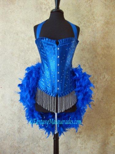 L-Royal Blue Scattered Crystal Moulin Burlesque Showgirl Costume