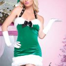 M/L Sleigh Bell Beauty Leg Avenue Christmas Costume Santa Holiday Elf Fur Velvet