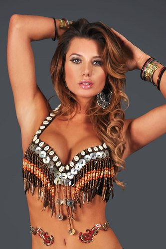 L/XL Professional Tribal Bra Belly Dance Burlesque Costume Belly Dancing Wood & Shell Beads