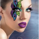 Exotic Xotic Eyes Theatrical Glitter & Crystal Single Eye Tattoo Peacock 3D Mask