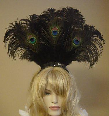 Peacock Ostrich Feather Showgirl/Saloon Girl Headband Headdress