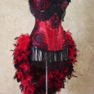 S-Red/Black Rose Lolita Day of the Dead Burlesque Costume Feather Train Carnival Circus