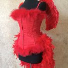 M~Custom Red Devil Angel Feather Burlesque Moulin Costume Halloween