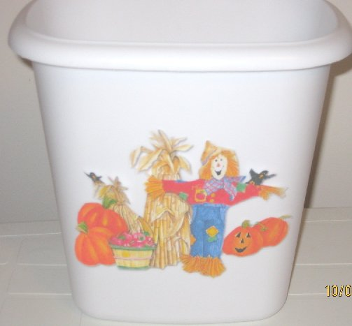 Fall Scarecrow Trash Can