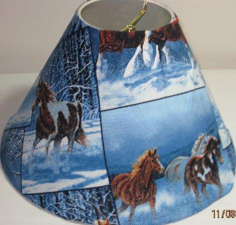 Horses in Snow Lamp Shade