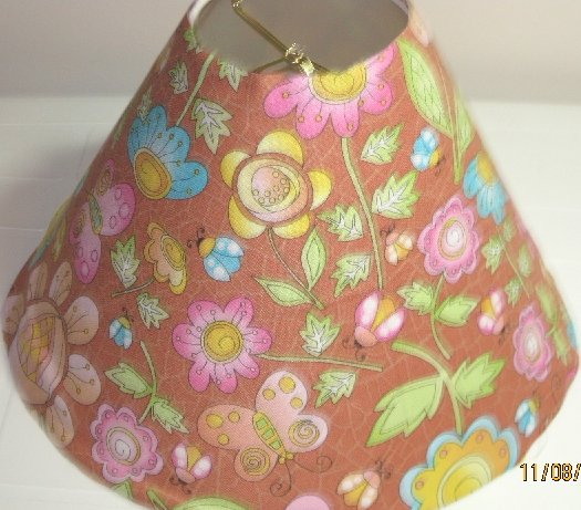 Lady Bug and flowers coca brown, pink, blue Lamp Shade