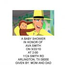 Curious George baby shower invitations