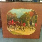 "Antique Walnut Bridge Table w/Hunt Scene.""Bridge Tables & Novelties Lowell, MA."""