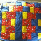 Handmade Unisex Baby Curious George blue quilt