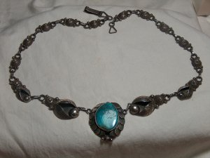 Vintage  Sterling Turquoise Mexico Necklace