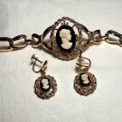 Vintage Cameo Bracelet and Earrings
