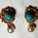Florenza Turquise and Pearl Drop Earrings