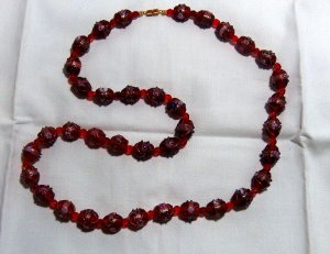Vintage Hot Red Italian Wedding Cake Bead Necklace
