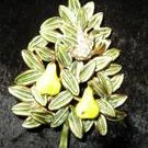 Vintage Signed Cadoro Partridge/Pear Tree Brooch