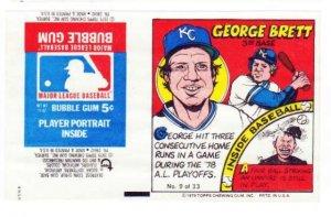 1979 Topps Test Issue Uncut Comic Baseball Wrapper George Brett Kansas CIty Royals