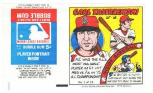 1979 Topps Test Issue Uncut Comic Baseball Wrapper Carl Yastrzemski Boston Red Sox
