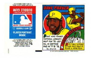 1979 Topps Test Issue Uncut Comic Baseball Wrapper Dave Parker Pittsburgh Pirates/Reds