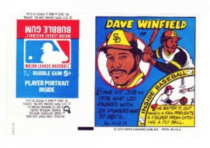 1979 Topps Test Issue Uncut Comic Baseball Wrapper Dave Winfield Padres/Yankees