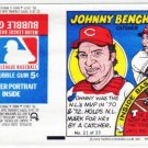 1979 Topps Test Issue Uncut Comic Baseball Wrapper Johnny Bench Cincinnati Reds