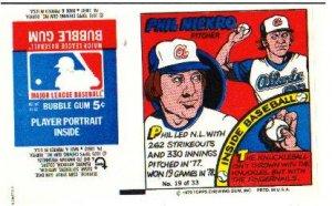 1979 Topps Test Issue Uncut Comic Baseball Wrapper Phil Niekro