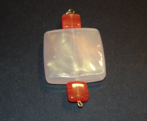 Red & Creme Squares Pendant