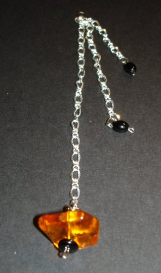 Silver Three String Amber Pendant