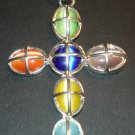 Silver Multi- Colored Cross Pendant