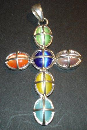 Silver Multi- Colored Cross Pendant