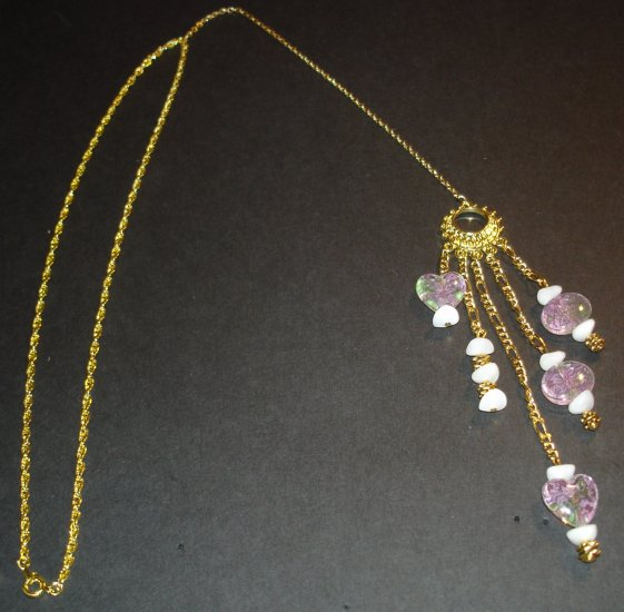 Gold & Pink Flower Power Necklace