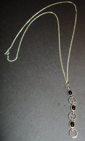 Silver & Black Ovals Necklace