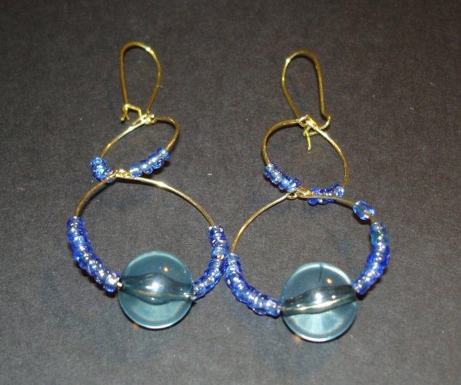 Gold & Blue Ocean Earrings