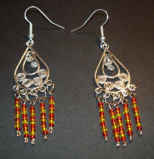 Silver Fire Gold Tribal Dangle Chandelier Earrings