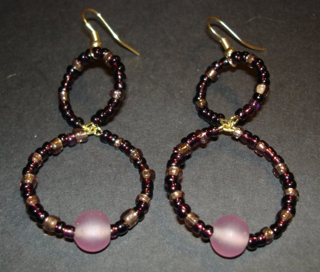 Purple Beaded Hoops Earrings