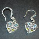 Silver Blue & Green Heart Earrings