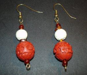 Red Craved Wood Earrings