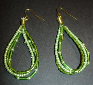 Green Beaded Strands Earrings