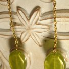 Gold & Green Drop Earrings