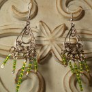 Green & Yellow Beaded Earrings