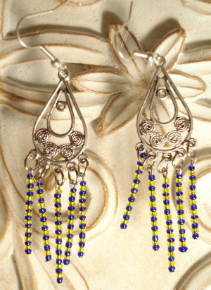 Blue & Yellow Dangle Earrings