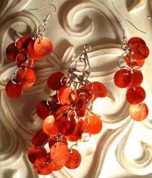 Red Shells Dangle Earrings & Pendant Set