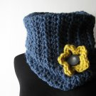the flirty girl cowl in denim.