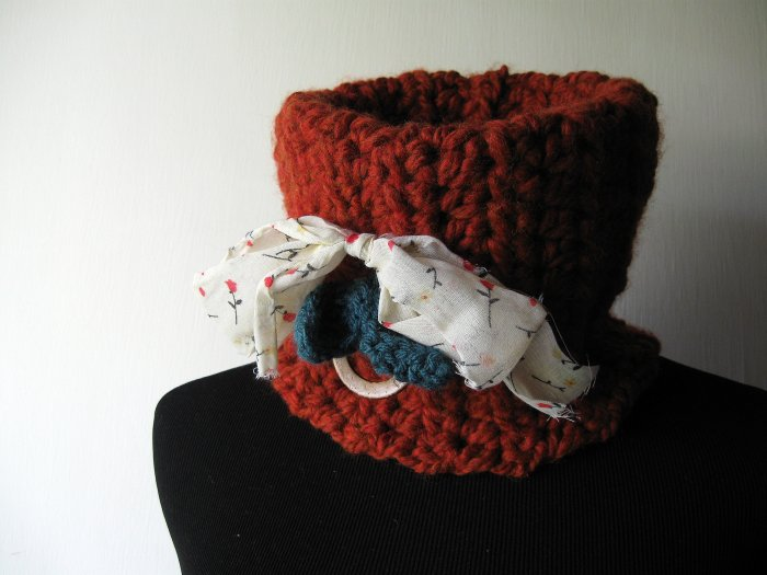 the sunset spice cowl. OOAK.