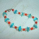 Patriotic Red, White, & Blue Bracelet: Coral, Turquoise, & Pearl