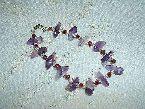 Lovely & Unique New Chevron Amethyst, Garnet & Pearl Bracelet