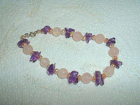 Beautiful Rose Quartz Beads, Pearls, & Amethyst Chip Bracelet