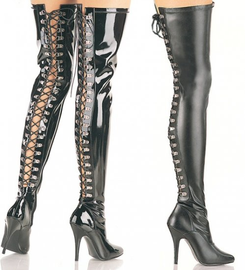 """""""Seduce"""" - Women's Thigh High Heeled Tight Boots with Lace Up Back"""