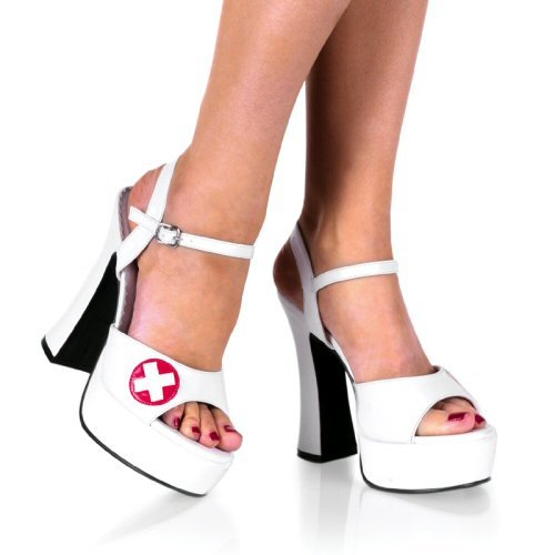 Dolly - Women's Chunk Heel Shoes with Ankle Strap and Nurse Cross Design