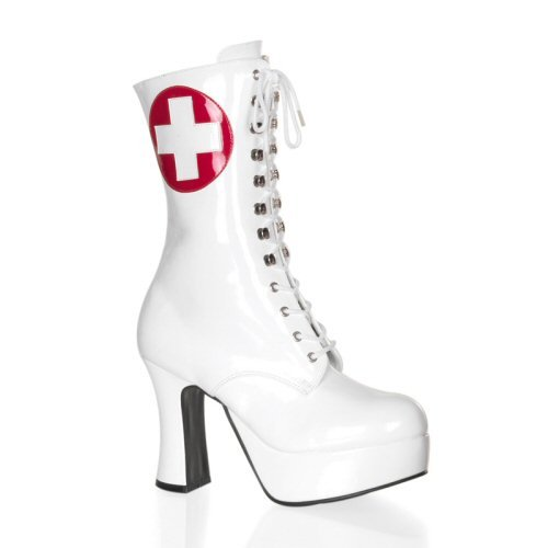 Exotica - Women's Ankle High Boots with Nurse Emblem Design