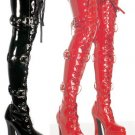 Electra - Women's Thigh High Boots with Ribbon Lace Up and Buckles