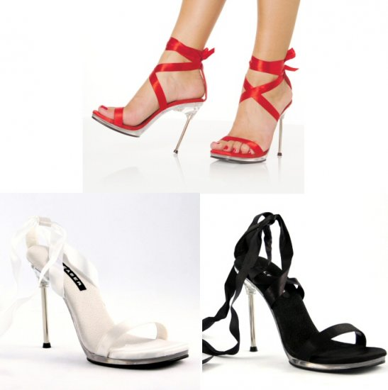 """Chic"" - Women's Stiletto Heels/Shoes with Satin Ankle Laces"